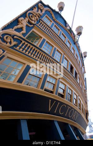 Admiral Nelson's ship, HMS Victory, Portsmouth Historic Docks, Portsmouth, Hampshire, England, United Kingdom, Europe - Stock Photo