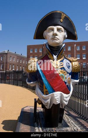 Ship figurehead of Admiral Nelson, Portsmouth Historic Docks, Portsmouth, Hampshire, England, United Kingdom, Europe - Stock Photo