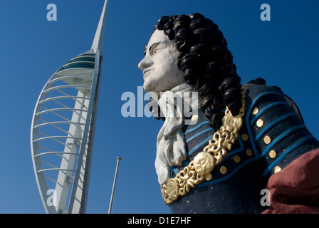 Ship figurehead with Spinnaker Tower behind, Gunwharf, Portsmouth, Hampshire, England, United Kingdom, Europe - Stock Photo