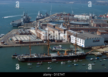 View of Historic Docks from Spinnaker Tower, Portsmouth, Hampshire, England, United Kingdom, Europe - Stock Photo