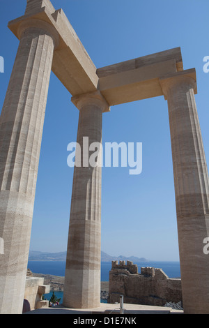 The Acropolis of Lindos, Rhodes, Dodecanese, Greek Islands, Greece, Europe - Stock Photo