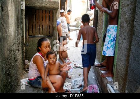 People at Rocinha favela, Rio de Janeiro, Brazil, South America - Stock Photo