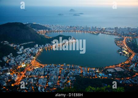 View of Lagoa Rodrigo de Freitas lake, Rio de Janeiro, Brazil, South America - Stock Photo