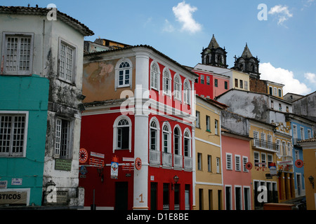 Cobbled streets and colonial architecture, Largo de Pelourinho, Salvador, Bahia, Brazil, South America - Stock Photo