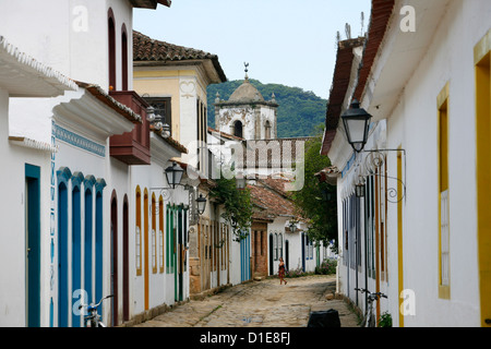 Typical colonial houses in the historic part of Parati, Rio de Janeiro State, Brazil, South America - Stock Photo