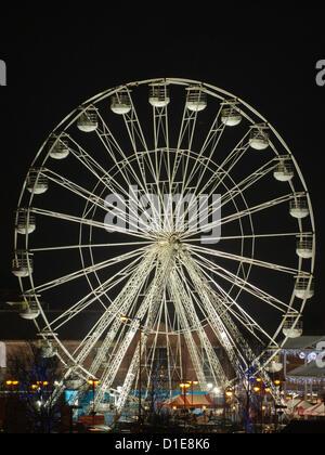 Chorley's 100ft Christmas ferris wheel, on the Flat Iron Car Park in Chorley Lancashire on Sunday 16th December - Stock Photo