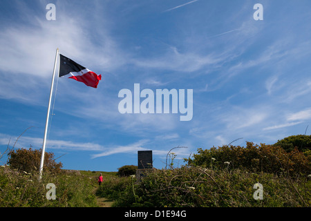 Flag of the Prince of the Saltee Islands, on Great Saltee off the coast of Co. Wexford, Ireland. T - Stock Photo