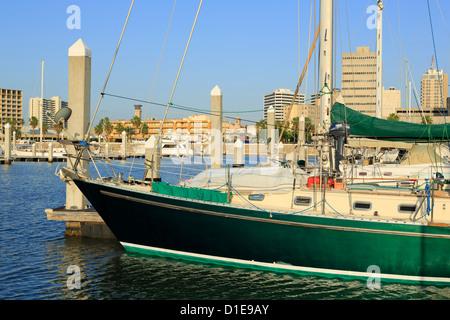 Boat marina in Corpus Christi, Texas, United States of America, North America - Stock Photo