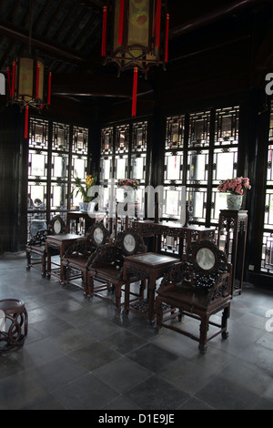 It's a photo of the interior of an old ancient Chinese house in china near  shanghai
