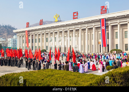 Celebrations on the 100th anniversary of the birth of President Kim Il Sung on April 15th 2012, Pyongshong, North - Stock Photo
