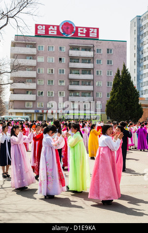 Women in traditional dress during 100th anniversary of the birth of President Kim Il Sung, April 2012, Pyongyang, - Stock Photo