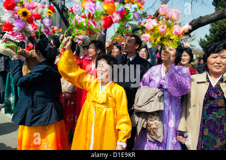 Women celebrating on 100th anniversary of the birth of President Kim Il Sung, April 15th 2012, Pyongyang, North - Stock Photo