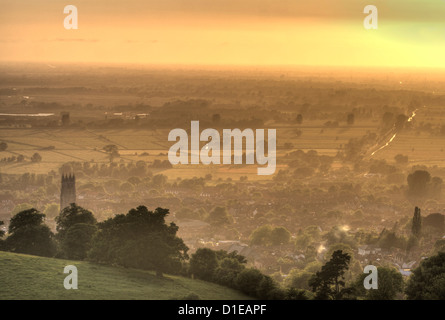 View of Glastonbury during sunset from Glastonbury Tor, Somerset, England, United Kingdom, Europe