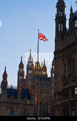 Union Jack on the Houses of Parliament. Westminster, London. England, United Kingdom, Europe - Stock Photo