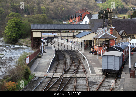 Llangollen Railway, Station, Llangollen, Dee Valley, Denbighshire, North Wales, Wales, United Kingdom, Europe - Stock Photo