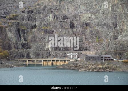 Dinorwig Slate Quarry, Llyn Peris Reservoir, Llanberis, Gwynedd, Snowdonia, North Wales, Wales, United Kingdom, - Stock Photo