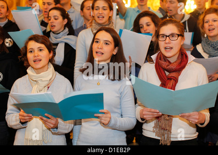 Choir in Notre Dame de Fourviere Basilica during the Fete des Lumieres held every year on december 8, Lyon, France - Stock Photo