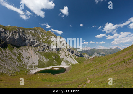 Hiking on the high route 2 in the Dolomites, Bolzano Province, Trentino-Alto Adige/South Tyrol, Italy, Europe - Stock Photo