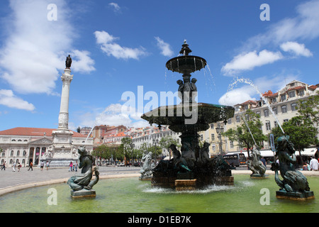The Rossio Fountain on Praca Dom Pedro IV public square in the central Baixa district, Lisbon, Portugal, Europe - Stock Photo