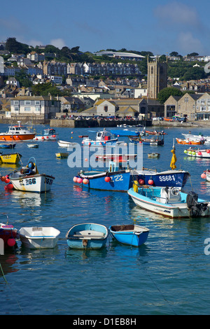 Summer sunshine on boats in the old harbour, St. Ives, Cornwall, England, United Kingdom, Europe
