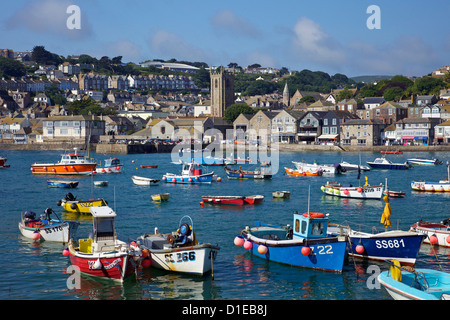 Summer sunshine on boats in the old harbour, St. Ives, Cornwall, England, United Kingdom, Europe - Stock Photo