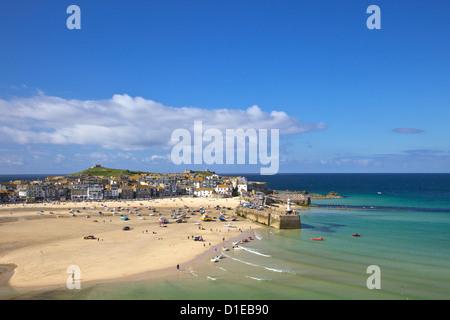Summer sunshine on the old harbour, St. Ives, Cornwall, England, United Kingdom, Europe - Stock Photo
