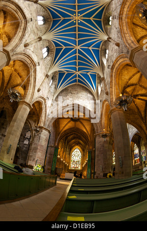 Nave, St. Giles Cathedral, Old town, Edinburgh, Scotland, United Kingdom, Europe - Stock Photo