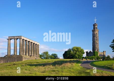 Nelson's and the National Monument, Calton Hill in summer sunshine, Edinburgh, Scotland, United Kingdom, Europe - Stock Photo