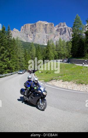 Motorcyclists, Sella Pass, Trento and Bolzano Provinces, Dolomites, Italy, Europe - Stock Photo