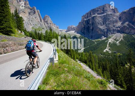 Cyclists, Sella Pass, Trento and Bolzano Provinces, Trentino Alto Adige/South Tyrol, Dolomites, Italy, Europe - Stock Photo