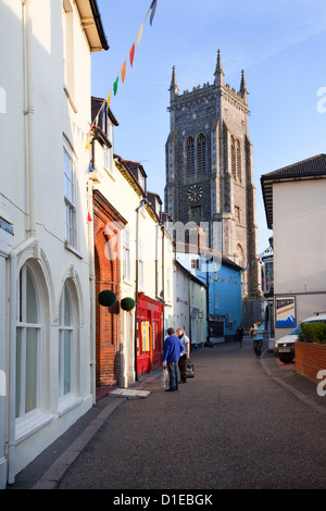 High Street and Church of St. Peter and St. Paul, Cromer, Norfolk, England, United Kingdom, Europe - Stock Photo