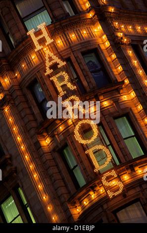 Harrods sign, Knightsbridge, London, England, United Kingdom, Europe - Stock Photo