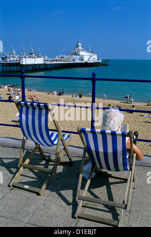Sea front and Pier, Eastbourne, East Sussex, England, United Kingdom, Europe - Stock Photo