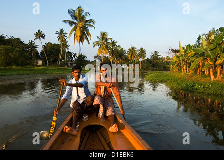 Canoeing along the Backwaters, near Alappuzha (Alleppey), Kerala, India, Asia - Stock Photo