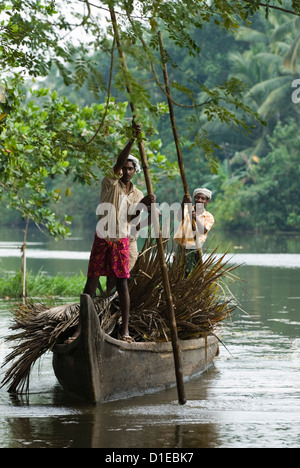 Locals transporting palm leaves on the Backwaters, near Alappuzha (Alleppey), Kerala, India, Asia - Stock Photo