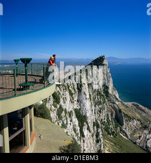 View over The Rock from Top of the Rock, Gibraltar, British Overseas Territory, Mediterranean, Europe - Stock Photo