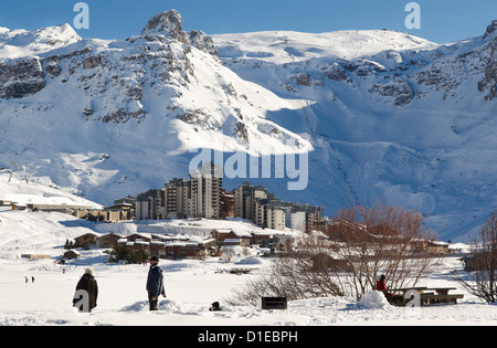 Val Claret, highest village in Tignes, Savoie, Rhone-Alpes, French Alps, France, Europe - Stock Photo