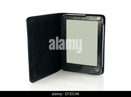 ereader in leather case isolated on white - Stock Photo