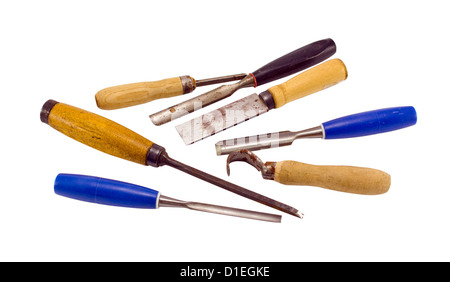 chisel graver carve tools collection for wood work isolated on white background - Stock Photo