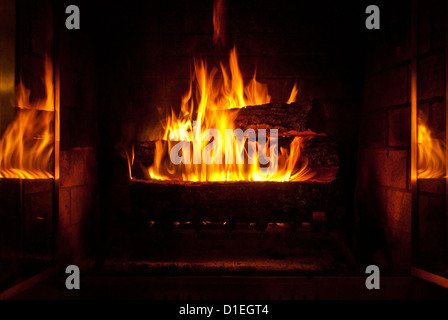 Cozy warm fire in the fireplace - Stock Photo