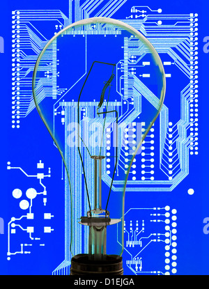 conceptual view light bulb abstract circuit board background - Stock Photo