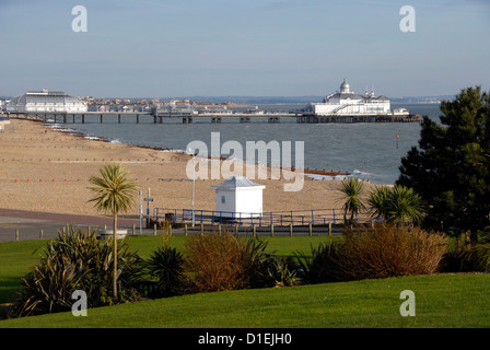 View of Eastbourne pier and beach, Sussex, UK - Stock Photo