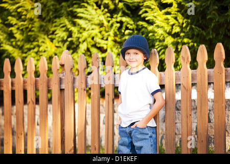 portrait of 8 year old boy - Stock Photo