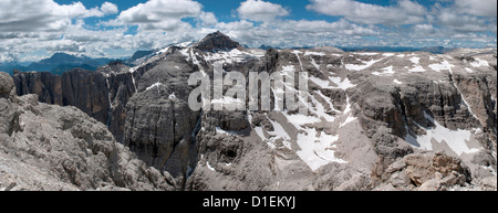 Mountainscape in the Sella Group with Piz Boe, Dolomites, South Tyrol, Italy - Stock Photo