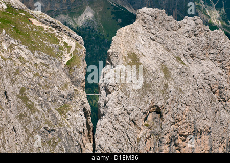 Pisciadu via ferrata in the Sella Group, Dolomites, South Tyrol, Italy - Stock Photo
