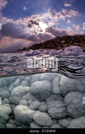 Salt crystal formations in the Dead Sea, Israel - Stock Photo