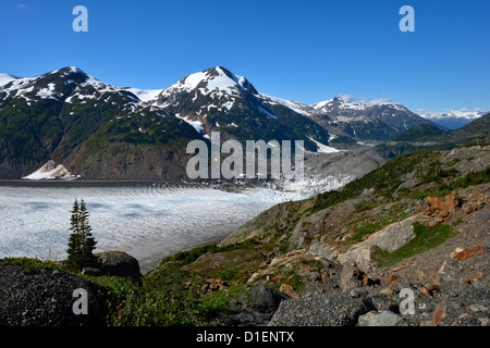 Looking east along the eastern arm of the Salmon Glacier - Stock Photo