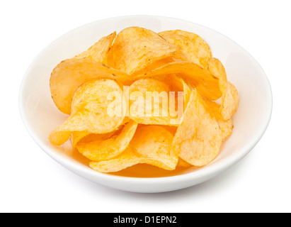 chips bowl on white background - Stock Photo