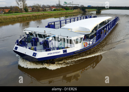 The Airbus A380 wing barge makes the journey from the Broughton factory along the River Dee to Mostyn Docks - Stock Photo