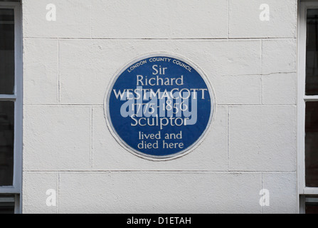 Blue plaque for Sir Richard Westmacott, sculptor, on 14 South Audley Street in Mayfair, London, UK. - Stock Photo